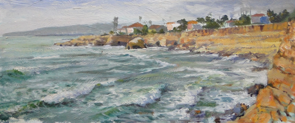 Ken Goldmanfinear_North view from Luscomb's Point_Oil on Panel 8x18 Sold