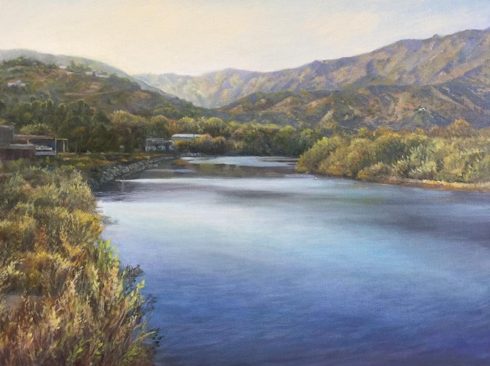 Ken Goldmanfineart_ East Malibu Lagoon From PCH_Oil on Canvas_18x24