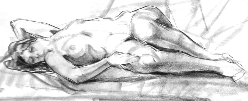 Ken Goldmanfineart_Reclining Nude, Charcoal 6x24.