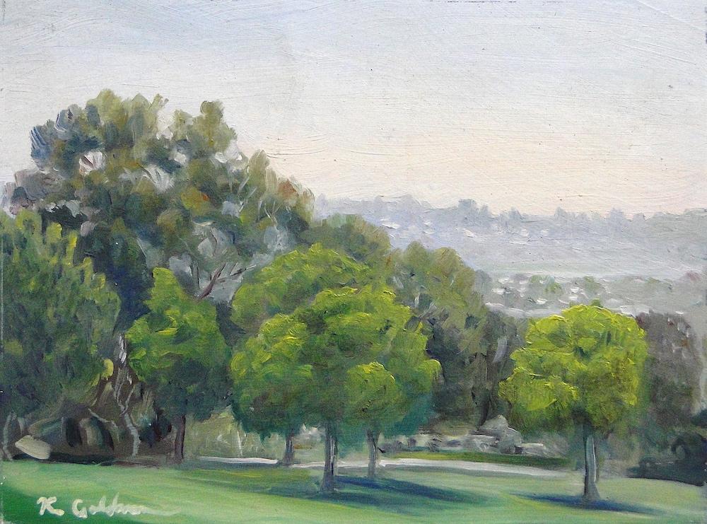Ken Goldmanfineart_Kate Sessions Park Midday, Oil 6x8 Sold