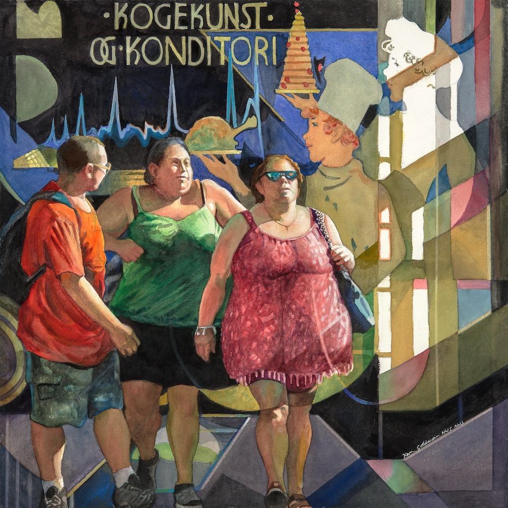 Ken Goldmanfineart_The Gustatory Parade, Watercolor 22x22