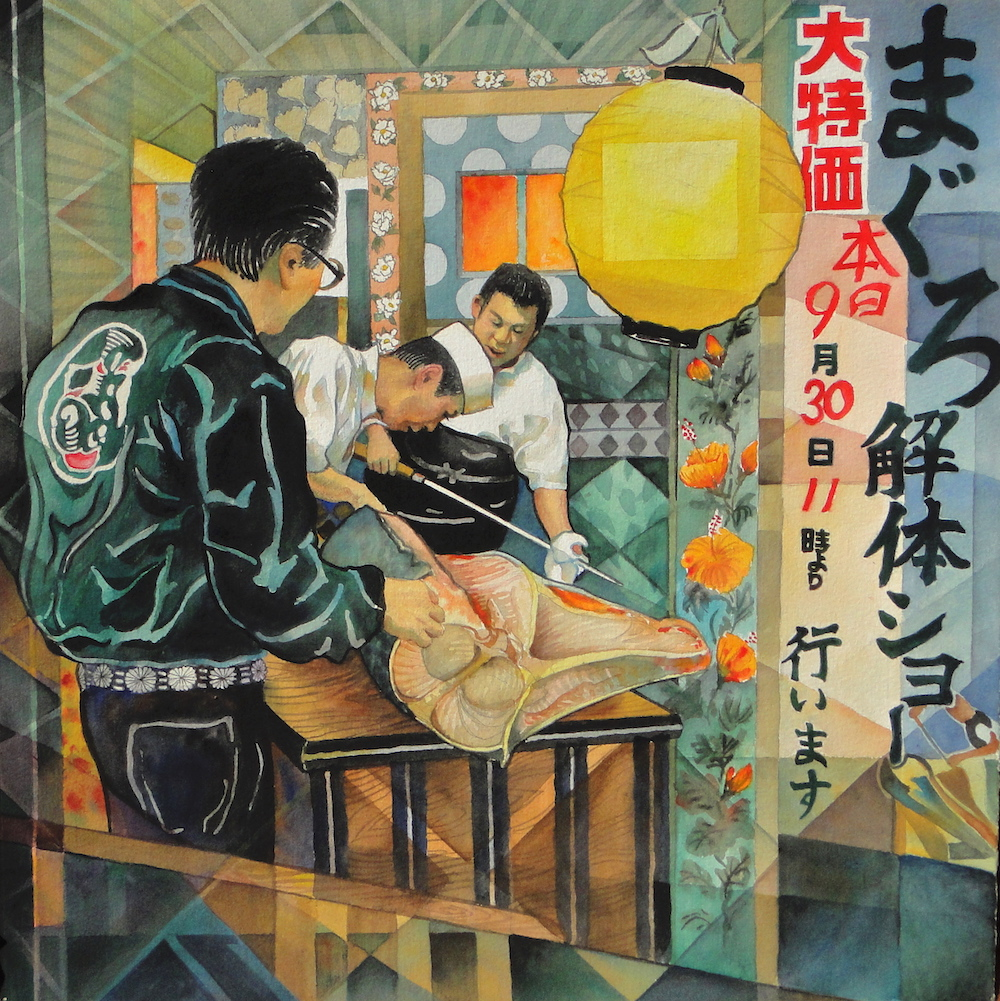 Ken Goldmanfineart_The Tuna Slicing Demo, Watercolor 22x22