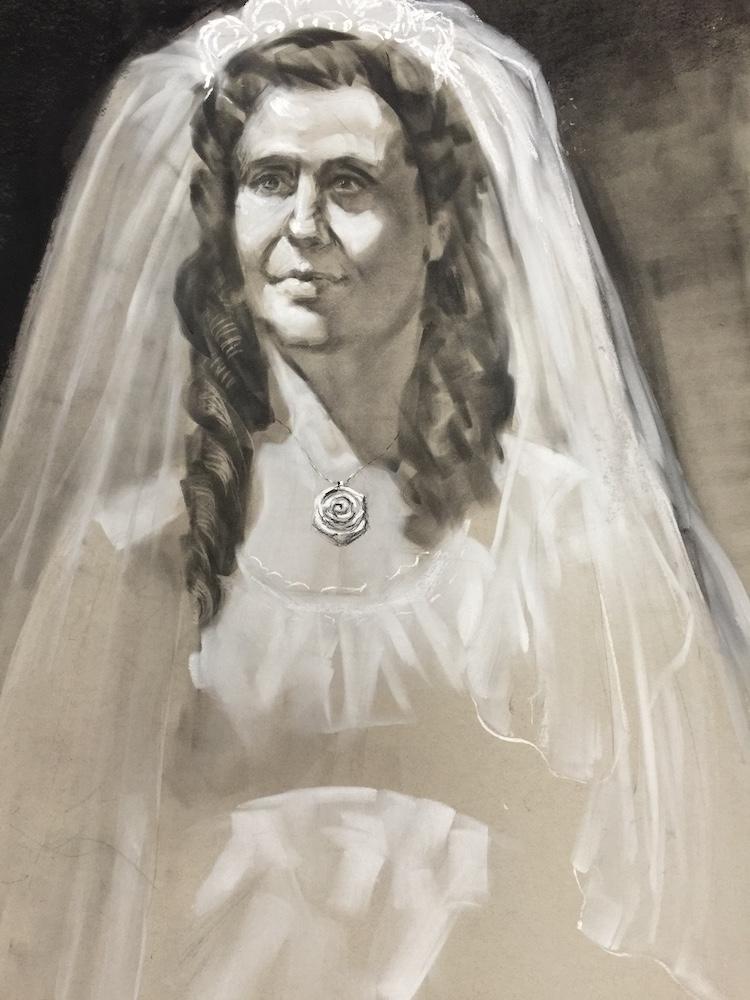stephanie goldmanfineart_ bride charcoal 24x18