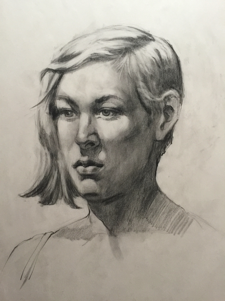 stephanie goldmanfineart_head study, charcoal 24x18