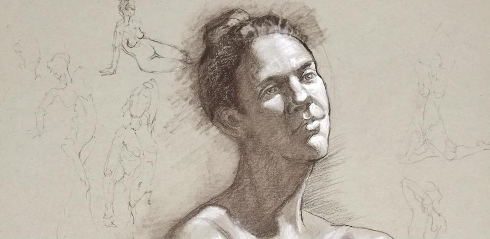 stephanie goldmanfineart_head study sketch 18x24