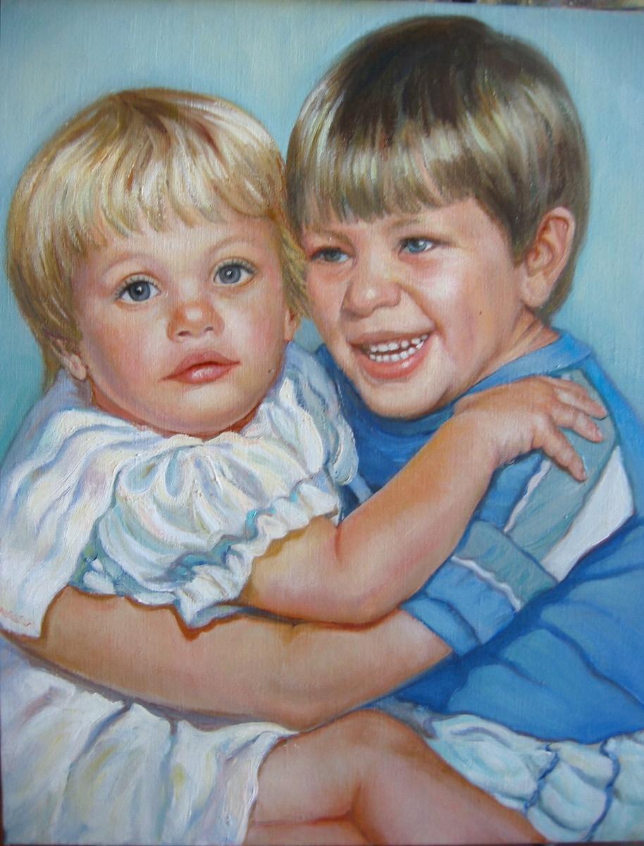 Stephanie Goldmanfineart Two Children, Oil, 20x16 SoldJPG