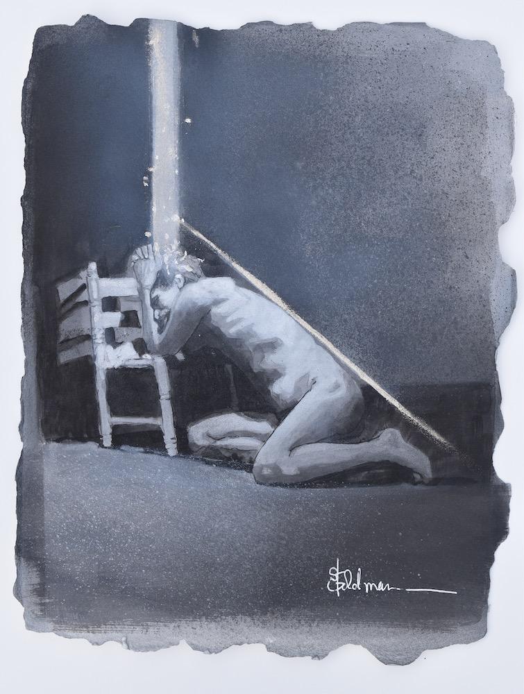 Stephanie Goldman -Praying Man, Watercolor 10x8